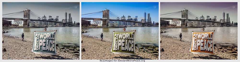 IDWP peace banner triptych on Dumbo Beach